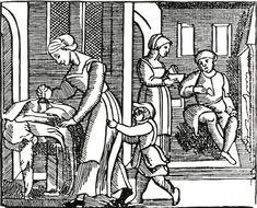 17th Century woodcut of a domestic scene