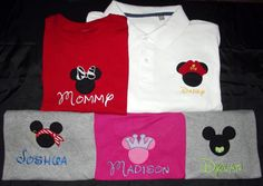 Disney 4 pack of Family Vacation shirts, Mickey and Minnie Mouse, Pirate and Princess. $74.99, via Etsy.