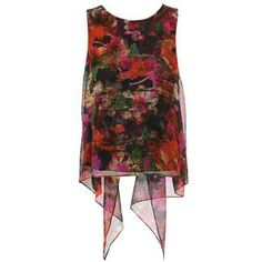 ERDEM 'Cadence' printed silk top with draped back