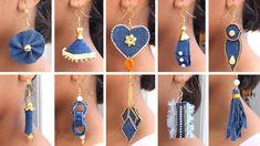 Diy Denim Earrings, Fabric Earrings, Fancy Earrings, How To Make Earrings, Diy Fabric Jewellery, Textile Jewelry, Diy Fashion Hacks, Denim Crafts, Diy Crafts Jewelry