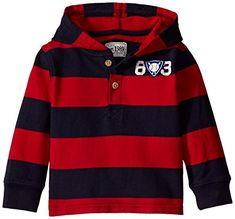The Childrens Place BabyBoys LB Striped Hood Henley Classic Red 1218 Months ** Be sure to check out this awesome product. (This is an affiliate link) #BabyBoyHoodiesandActive