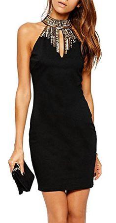 made2envy Halter Jeweled Neckline Bodycon Mini Dress
