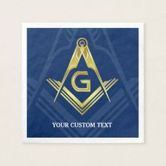 Personalized Masonic Napkins | Navy Blue Gold - decor gifts diy home & living cyo giftidea
