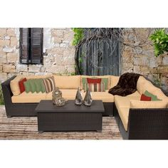 TK Classics Barbados 7 Piece Seating Group with Cushion Fabric: Sesame