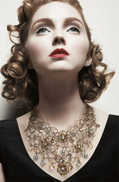 Liz Palacios Crystal Floral Statement Necklace modeled by Lily Cole