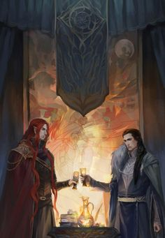 When I first saw this I just glanced at it and thought they were fist-bumping- Maedhros and Fingon by egorit