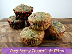 Very Berry Oatmeal Muffins