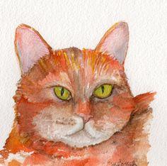 Orange Kitty Cat Original watercolor painting by SharonFosterArt, $18.00