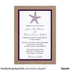 Starfish Burlap Beach Wedding | Choose Your Color