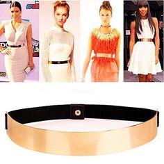 Women Bow Tie Metal Charm Buckle Bright Orange Elastic Belt Hip High Waist S M