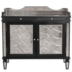 #zgallerie, Love the Art Deco detailing on this piece beautiful! Salvatore Antiqued Mirrored Bar Cabinet from Z Gallerie