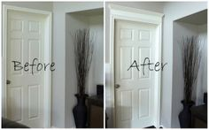 DIY Door Molding - a piece of MDF and a piece of crown on top. Beautiful!