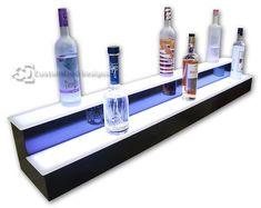 Customized Designs 2 Tier LED Illuminated Back Bar Bottle Display Display - Commercial Grade Bar Shelves, Liquor Shelves, Shelving, Shelf, Lighting System, Bar Lighting, Liquor Bottles, Glass Bottles, Bar Dimensions