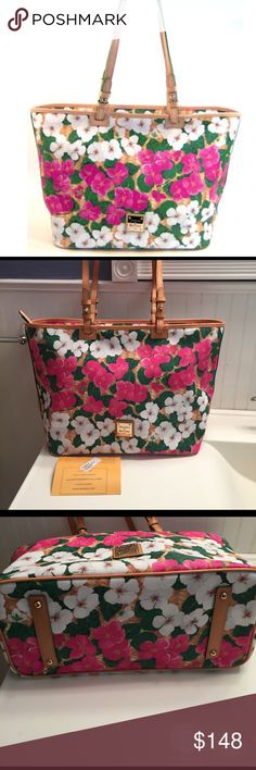 Dooney & Bourke  Flower Leisure Shopper NWT Dooney & Bourke Fuchsia White Flower Leisure Shopper Handbag TF489FH New!  Fuchsia, White, Green and Tan  Coated canvas / material main body with leather handle and trim  Zipper closer Studded bottom   Gold tone hardware Three open pockets and one zipper pockets inside  comes with registration card Measurements: (approximate) 14 inches across the bottom and 19 inches across the top  (L) by 7 inches (W) by 12 inches (H)  (approximate) 10 1/2 inch…
