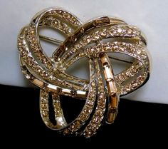 Vintage Pell Sign Mid-Century Atomic Golden Baguette Champagne Rhinestone Brooch #Pell