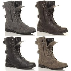 Details about Womens Combat Style Army Worker Military Ankle Boots ...