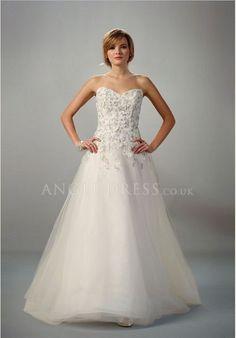 Zipper up A line Tulle Sweetheart Floor Length Sleeveless Wedding Gown