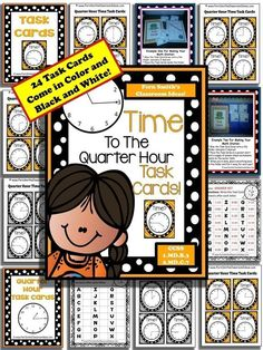 Time To The Quarter Hour Task Cards and Recording Sheet For 1.MD.B.3 With Answer Key #TPT $Paid