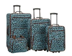 Rockland Luggage 4PC Set Blue Leopard Print Softcase Suitcases Rolling F125