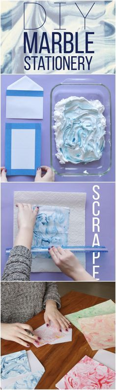 DIY Marble Stationery - This would be awesome for a teen craft | Crafts For Teens
