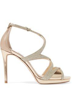 JIMMY CHOO Marianne 100 glittered leather sandals - High Fashion Heels - Damen Hochzeitskleid and Schuhe! Ankle Strap Heels, Ankle Straps, Pumps Heels, Stiletto Heels, Shoes Sandals, Strap Sandals, Glitter Sandals, Gold Sandals, Fashion Heels