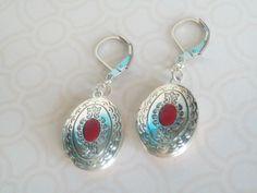 Silver Locket Earrings Red Center Keepsake Lock of by JypsyJewels