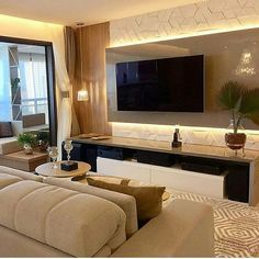 Image may contain: living room, table and indoor Living Room Tv Unit Designs, Wall Unit Designs, Living Room Wall Units, Tv Wall Design, Living Room Decor, Tv Wanddekor, Tv Unit Furniture, Home Designer, Tv Wall Decor