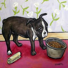 Boston terrier eating picture animal dog art tile coaster gift schmetz