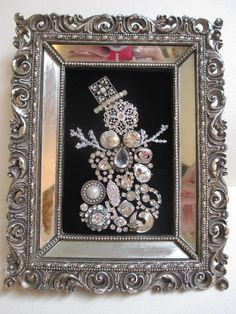Jeweled Framed Jewelry Snowman Vintage Silver Rhinestones