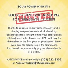 MYTH #11 - SOLAR SYSTEMS WILL NEVER PAY FOR THEMSELVES Thanks to rebates…