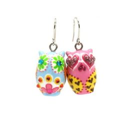 Owl Earrings 00047 Ceramic Jewelry Hand Painted Hand Crafts Fashion Accessories