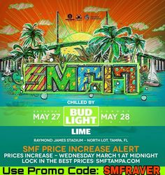 SUNSET MUSIC FESTIVAL 2017 Price Increase Alert Prices increase WEDNESDAY March 1st at midnight! Use Promo code: SMFRAVER for DISCOUNTED tickets now at www.smftampa.com #smf17 #edmfestival #rave #ravefestival #edm #musicfestival #sunsetmusicfestival #floridaedm