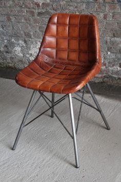 Chaise industrielle en cuir BARAK7