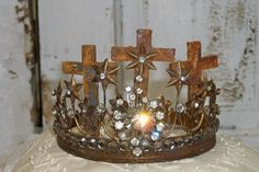 Embellished crown French Santos by AnitaSperoDesign, $110.00