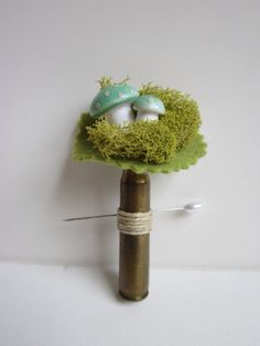 Men's quirky mushroom, shotgun shell boutonniere on Etsy, $29.00