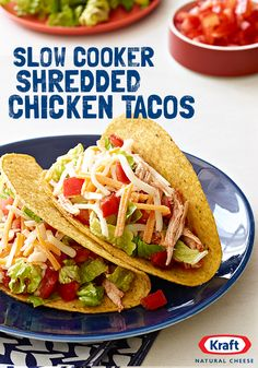KRAFT Shredded Colby & Monterey Jack Cheeses combine with TACO BELL Thick & Chunky Salsa and Taco Seasoning to make these perfectly zesty & cheesy Slow Cooker Chicken Tacos. http://www.kraftrecipes.com/recipes/slow-cooker-shredded-chicken-tacos-172027.aspx