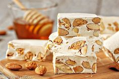 the classic Italian nougat, is easy to make at home! Learn how to make it with this honey-almond Torrone recipe.Torrone, the classic Italian nougat, is easy to make at home! Learn how to make it with this honey-almond Torrone recipe. Italian Cookies, Italian Desserts, Italian Recipes, Italian Snacks, Italian Bakery, Italian Pastries, Italian Foods, Honey Almonds, Toasted Almonds