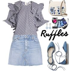 Add Some Flair: Ruffled Tops by hamaly on Polyvore featuring moda, GRLFRND, Gap, French Connection, Miu Miu, outfit, denim, trends, alldenim and oot