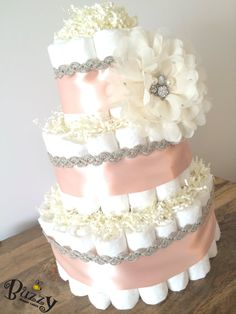 Items similar to Vintage Inspired Gray Pink and Ivory Diaper Cake, Rose, Baby Girl Shower Decor, Blush Pink and Gray Diaper Cake, Pink and Grey Diaper Cake on Etsy Girl Shower Cake, Baby Shower Cakes, Baby Shower Gifts, Girl Baby Shower Decorations, Baby Shower Themes, Shower Ideas, Baby Decor, Baby Shower Vintage, Shabby Chic Baby Shower