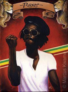 This is an Print of one of my original canvas paintings of reggae legend Peter Tosh, the Stepping Razor. Peter Tosh, Reggae Artists, The Wailers, Hip Hop Art, T Art, Reggae Music, Bob Marley, Black Art, Black History