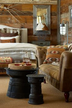 Mustang Monument Resort guest suite Love the cowhide lamp shade