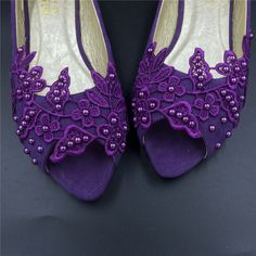 Sparkly Purple Glitter Ballet Flats Personalized Bride Wedding Shoes