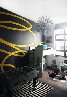 Astounding Interior paint colors with hardwood floors,Interior wall painting for living room and Interior paint colors contemporary homes. Striped Walls, Black Walls, Yellow Walls, Interior Paint Colors, Interior Walls, Interior Painting Ideas, Interior Design, Interior Ideas, Boy Room