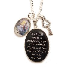 Alice in wonderland necklace Cheshire cat We're all mad here with key charm pendant on Etsy, $34.00