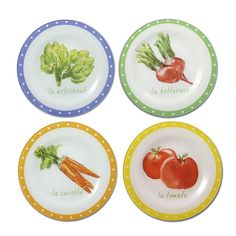 Market Set of 4 Glass Plates