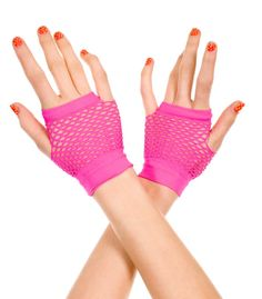 Fingerless fish net gloves with thumb and pinky finger holes. (Includes a set of 2 gloves) Fingerless Net Gloves, Fingerless Neon Gloves Black Lace Gloves, Leather Gloves, Pink Gloves, Wedding Dress Accessories, Costume Accessories, Princess Bubblegum Cosplay, Wedding Gloves, Burlesque, Fingerless Gloves