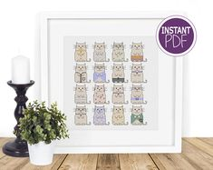 Cat Cross Stitch Pattern, Cat Cross Stitch chart, Modern Cat Cross Stitch, Modern Counted Cross Stitch, Just Cats by Peppermint Purple