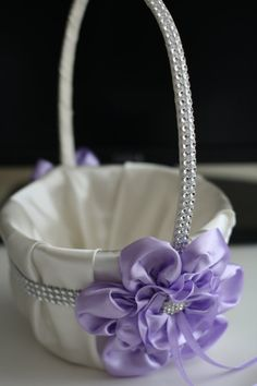 Ivory Lavender Satin Wedding Basket Violet by AlexEmotions