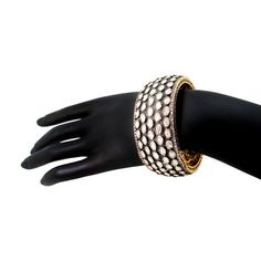 Pave 24.9ct Rose Cut Diamond Bangle 14 K Gold Bracelet 925 Silver Bridal Jewelry #raj_jewels #Bangle