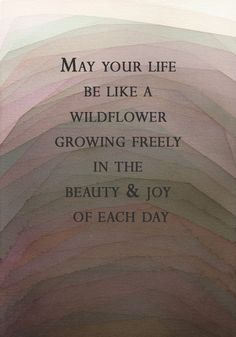 """May your life be like a wildflower, growing freely in the beauty and joy of each day."" ✿"